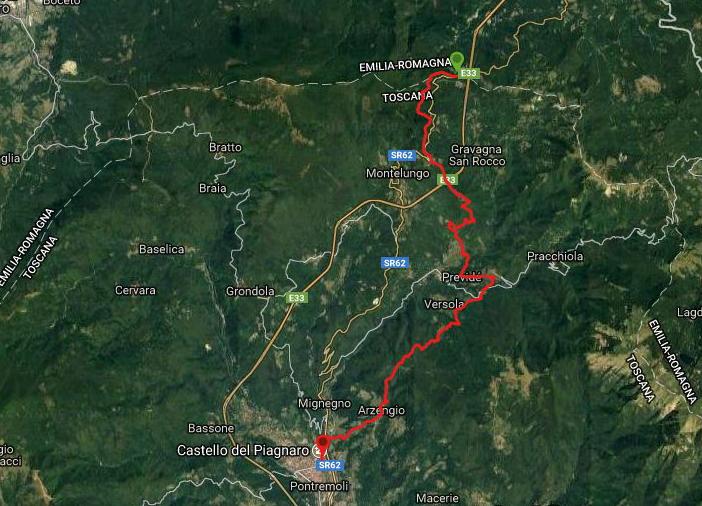 Questa è la strada percorsa da Nicola e Fela tra Pontremoli-Passo della Cisa