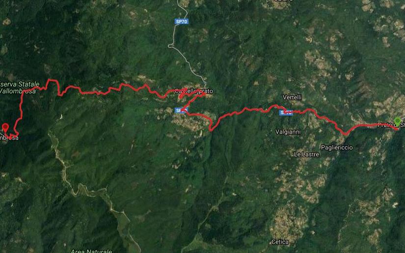 Questa è la strada percorsa da Nicola e Fela tra Prato di Strada-Vallombrosa