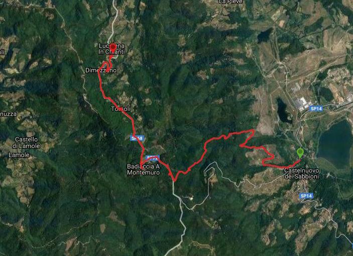 Questa è la strada percorsa da Nicola e Fela tra Ranch Margherita-Lucolena