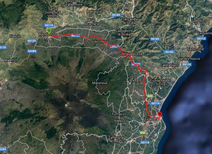 Questa è la strada che Nicola ha percorso in treno da Randazzo-Giarre Riposto
