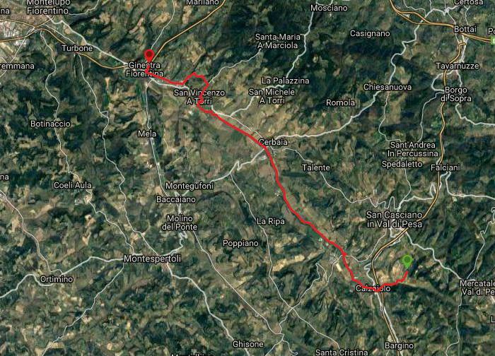 Questa è la strada percorsa da Nicola e Fela tra San Casciano-Ginestra Fiorentina