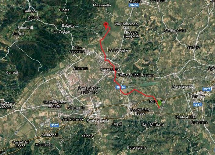 Questa è la strada percorsa da Nicola e Fela tra San Miniato-Fucecchio