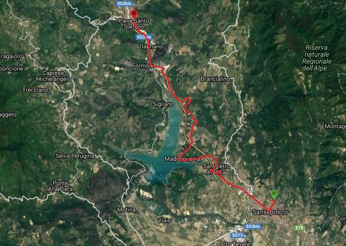Questa è la strada percorsa da Nicola e Fela tra Sansepolcro-Pieve Santo Stefano