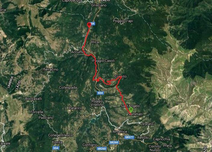 Questa è la strada percorsa da Nicola e Fela tra Sommati-Accumoli