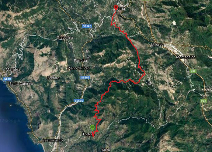 Questa è la strada percorsa da Nicola e Fela per passare dalla Calabria alla Basilicata, da Tortora-Lauria