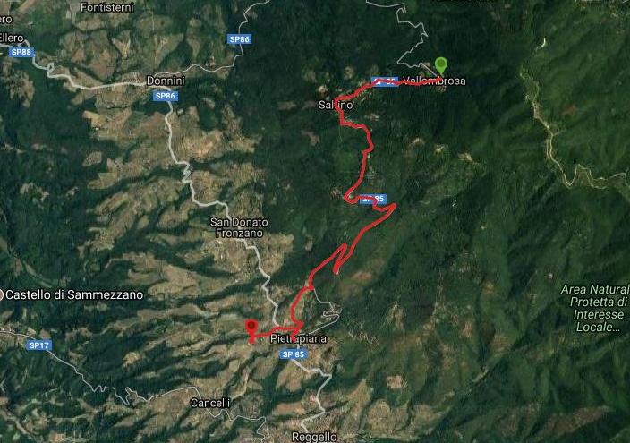 Questa è la strada percorsa da Nicola e Fela tra Vallombrosa-Pietrapiana