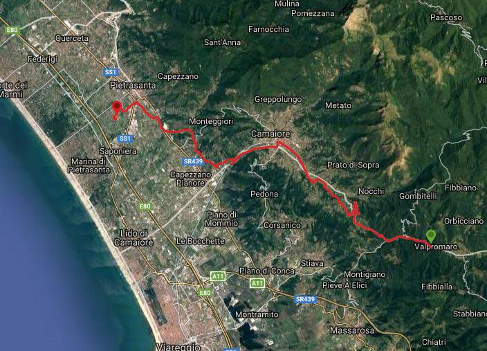 Questa è la strada percorsa da Nicola e Fela tra Valpromaro-Pietrasanta