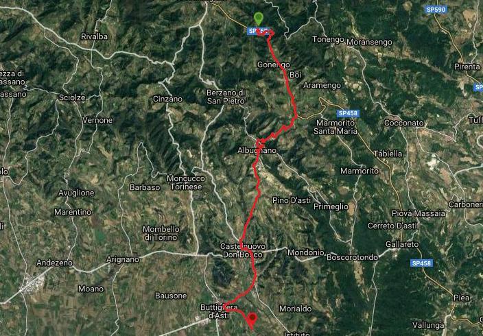 Questa è la strada percorsa da Nicola e Fela tra Casalborgone-Buttigliera d'Asti