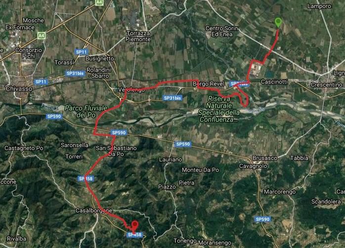 Questa è la strada percorsa da Nicola e Fela tra Crescentino-Casalborgone