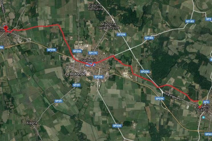 Questa è la strada percorsa da Nicola e Fela tra Groppello Cairoli-Tromello