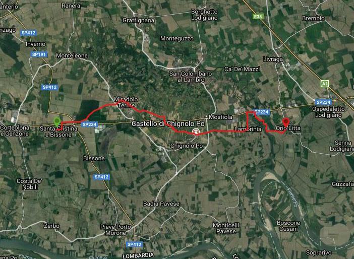 Questa è la strada percorsa da Nicola e Fela tra Orio Litta-Santa Cristiana e Bissone