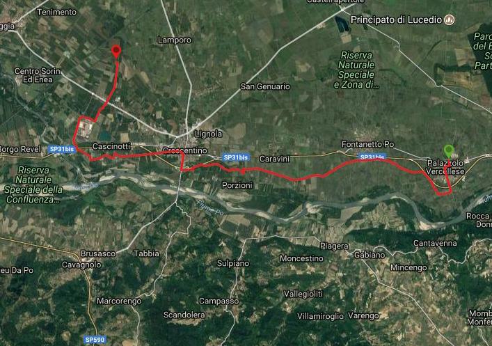 Questa è la strada percorsa da Nicola e Fela tra Palazzolo Vercellese-Crescentino
