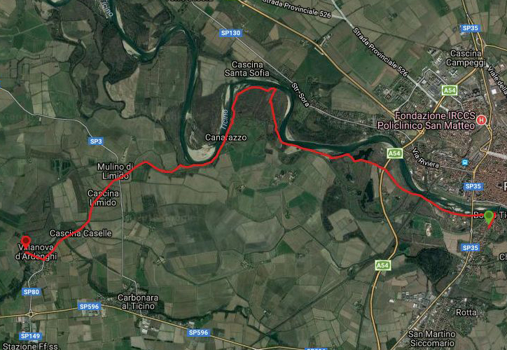 Questa è la strada percorsa da Nicola e Fela tra Pavia-Groppello Cairoli