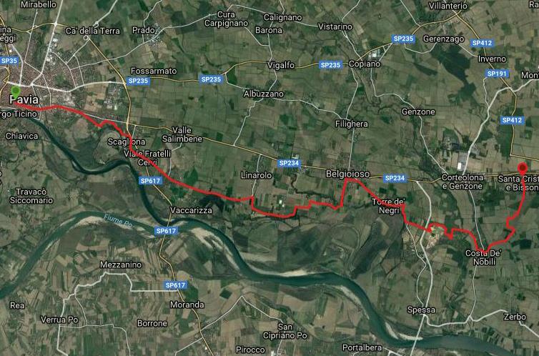 Questa è la strada percorsa da Nicola e Fela tra Santa Cristina e Bissone-Pavia
