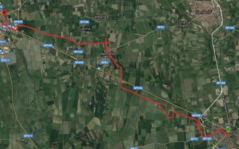 Questa è la strada percorsa da Nicola e Fela tra Tromello-Mortara